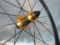 First M5 golden hub set in M5 carbon rims
